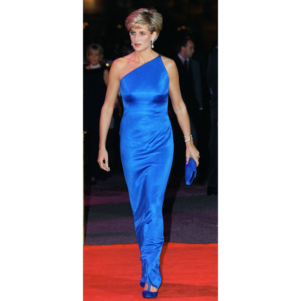 "After her divorce from <strong><a href=""/tags/0/prince-charles"">Prince Charles</a></strong>, Princess Diana wore more international designers, like this royal-blue <strong><a href=""/tags/0/versace"">Versace</a></strong> gown, which she donned in 1996 for a fundraiser in Sydney, Australia. 