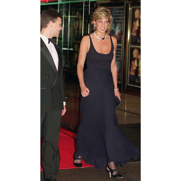 "Despite the deep and moody hue of her navy gown, created by a designer to whom Diana played muse - <strong><a href=""/tags/0/catherine-walker"">Catherine Walker</a></strong> - the royal was in high spirits at a charity film premiere in 1995. 