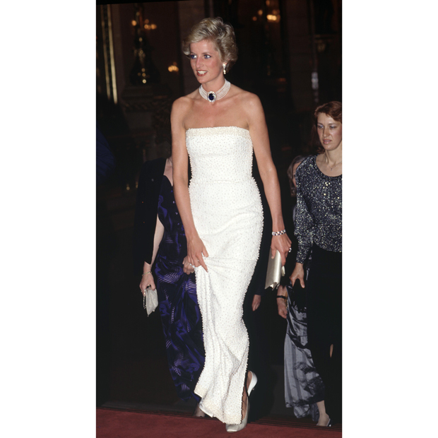 "Princess Diana was white hot in Budapest in 1990, wearing a beautiful white strapless <strong><a href=""/tags/0/catherine-walker"">Catherine Walker</a></strong> gown beaded with pearls, which she paired with a pearl choker made using a sapphire brooch originally gifted to her by the <Strong><a href=""/tags/0/queen-mother"">Queen Mother</a></strong>. 