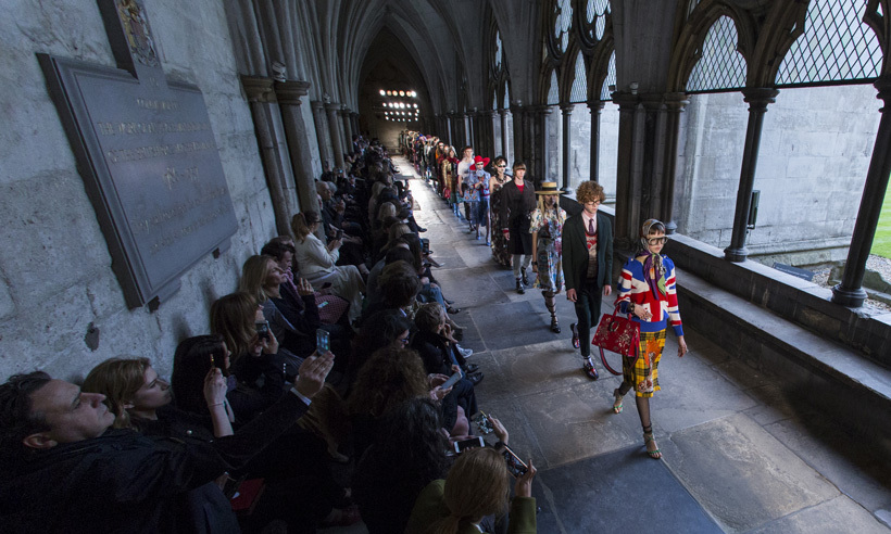 The show was held in the church's cloisters.  