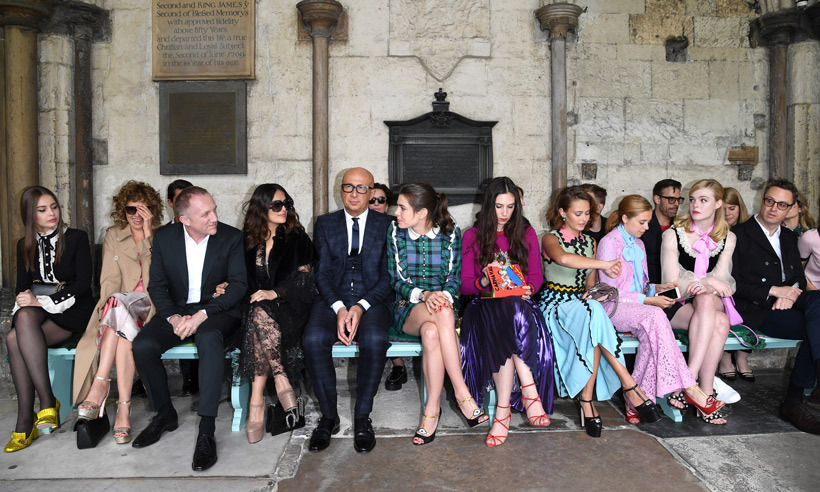 The star-packed front row: From left: Marie Ange Casta, Valeria Golino, Francois-Henri Pinault and his wife Salma Hayek, Gucci CEO Marco Bizzarri, Charlotte Casiraghi, Tatiana Santo Domingo, Ella Purnell, Bel Powley, Elle Fanning and Nicolas Winding Refn.