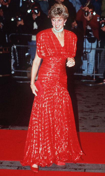 "Pushing the boundaries of royal dressing once again, Diana stepped out at a 1991 film premiere in a show-stopping, sparkly red <strong><a href=""/tags/0/bruce-oldfield"">Bruce Oldfield</a></strong> gown that hugged her hips and waist before flaring at the hem.