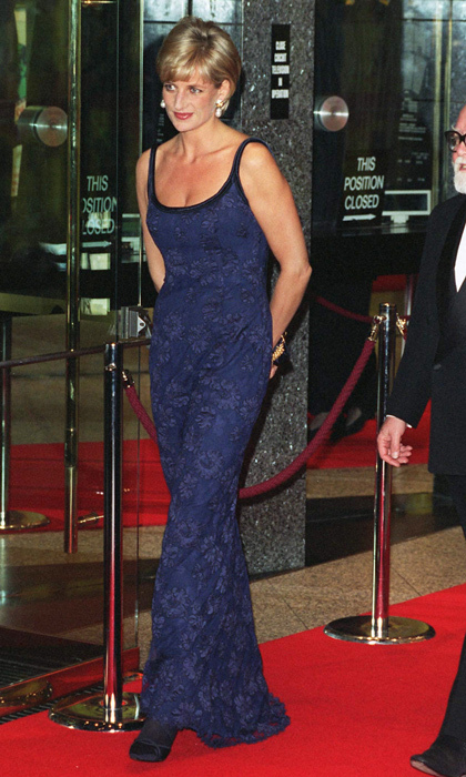 "Sleek and stunning in a scoop-neck blue lace dress at the film premiere for <em>In Love and War</em>, all eyes were on the People's Princess as she walked the red carpet with her hands primly placed behind her <strong><a href=""/tags/0/catherine-walker"">Catherine Walker</a></strong>-clad body.