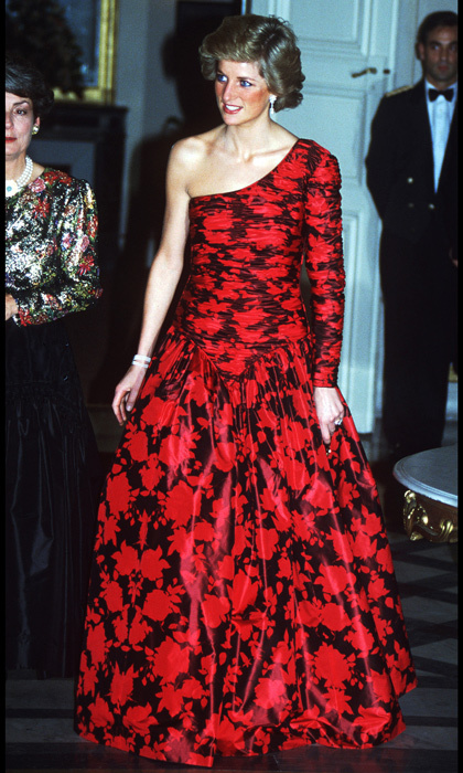 "This baroque floral-printed dress by <strong><a href=""/tags/0/catherine-walker"">Catherine Walker</a></strong> featured the princess's signature asymmetrical neckline. <p>Throughout her years in the spotlight, Diana was often seen wearing one-shoulder gowns and never shied away from a solid pop of colour.
