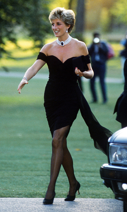"The same evening that a documentary aired in which Charles admitted that he had been unfaithful to her during their marriage, Diana donned her infamous ""revenge dress"" for a <i>Vanity Fair</i> dinner at the Serpentine Gallery close to Kensington Palace. The short off-the-shoulder silk-chiffon dress was designed by a then-relatively unknown Greek designer named <strong><a href=""/tags/0/christina-stambolian"">Christina Stambolian</a></strong>. 