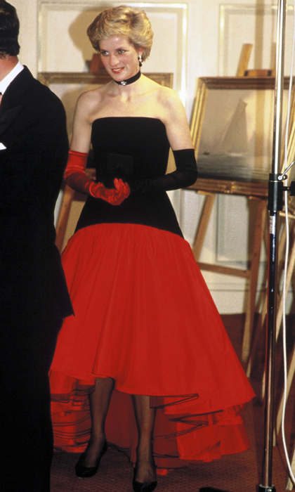"One of Diana's favourite gowns was this black and red <strong><a href=""/tags/0/murray-arbied"">Murray Arbied</a></strong> flamenco-inspired creation which she wore on numerous occasions. For an appearance at the America's Cup Ball in 1986, the mother of two showed off her distinct style by wearing mismatching gloves. 