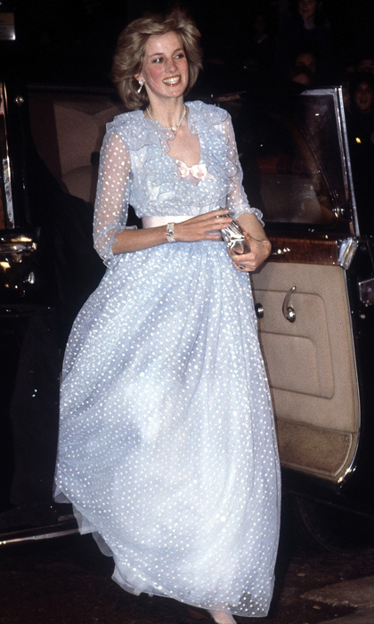 "In 1982, the princess stepped out in a spotted dress by <strong><A href=""/tags/0/david-and-elizabeth-emanuel"">David and Elizabeth Emanuel</a></strong>, the same pair that designed her iconic wedding gown. She topped off her ensemble with a pair of playful pearl-and-diamond earrings. 
