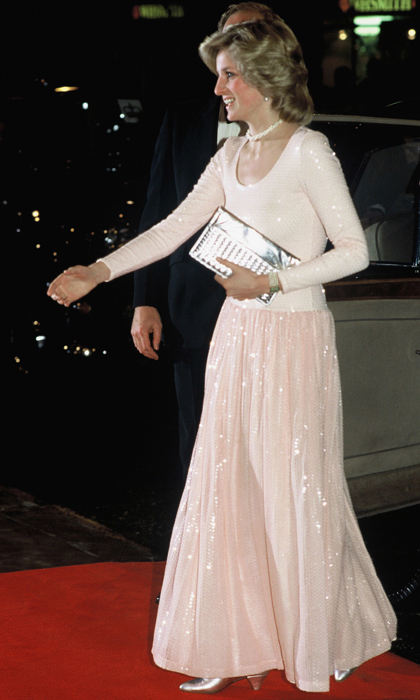 Before she embraced the statement necklaces and chokers that would become her signature, Diana preferred simple, delicate looks, including this braided-double-strand pearl necklace; the perfect accessory for the ballet-pink sequined gown she wore to attend the London premiere of <i>Starlight Express</i> in 1984. 