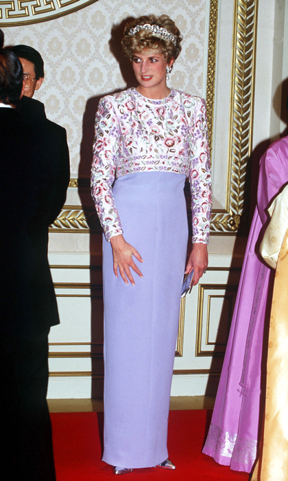 "The princess sported a variation of the <strong><a href=""/tags/0/catherine-walker"">Catherine Walker</a></strong> gown she wore to a state banquet in 1989 to a private dinner with the President of South Korea in 1992. The Spencer family tiara made yet another appearance during the special occasion. 