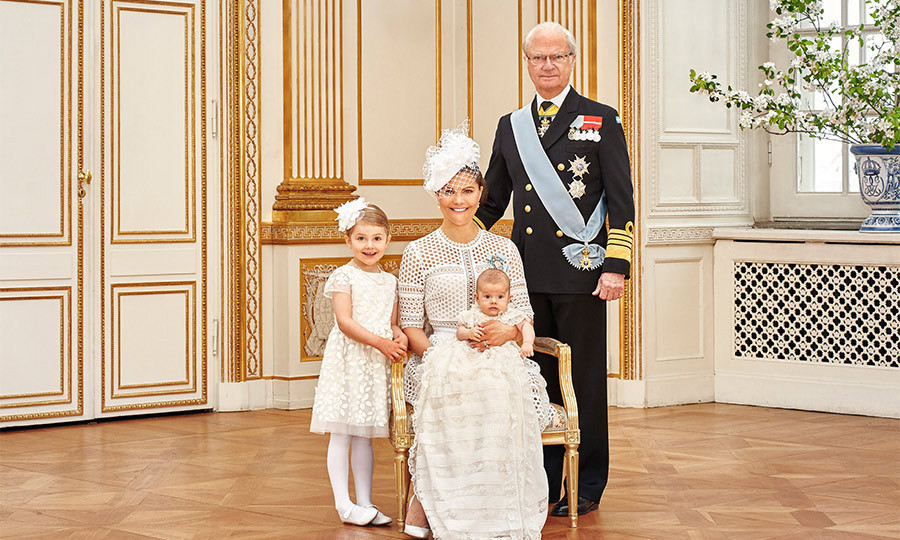 May 2016: Estelle joined her brother, mother and grandfather King Carl Gustaf for a special portrait following Oscar's christening.