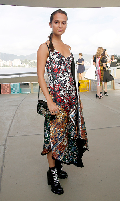34359fbe1016 Alicia Vikander gave us island vibes in a paisley Louis Vuitton dress and  black combat boots