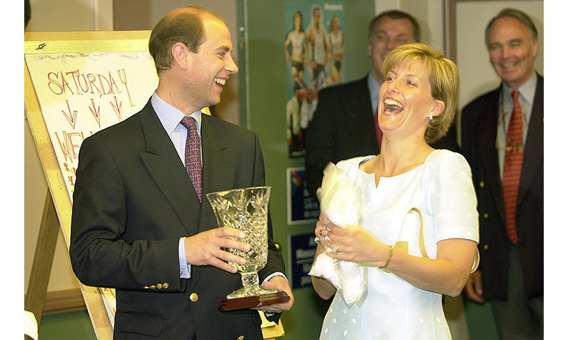 Prince Edward and his wife Sophie have a laugh during a visit to Edmonton in 2001. 