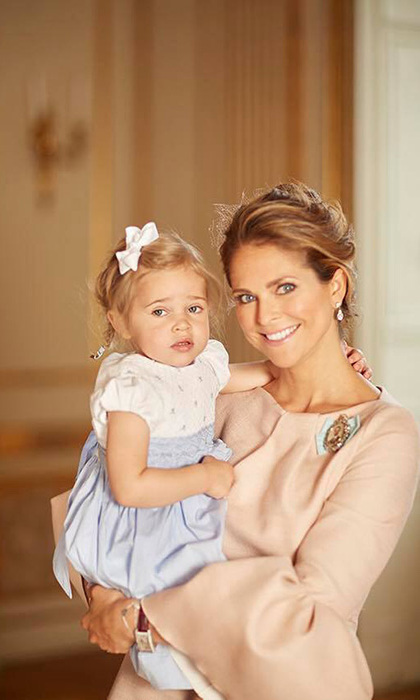 Princess Leonore held onto mom Princess Madeleine as the two attended Prince Oscar of Sweden's christening on May 27, 2016. The proud mother shared this set of photos on Mother's Day. 