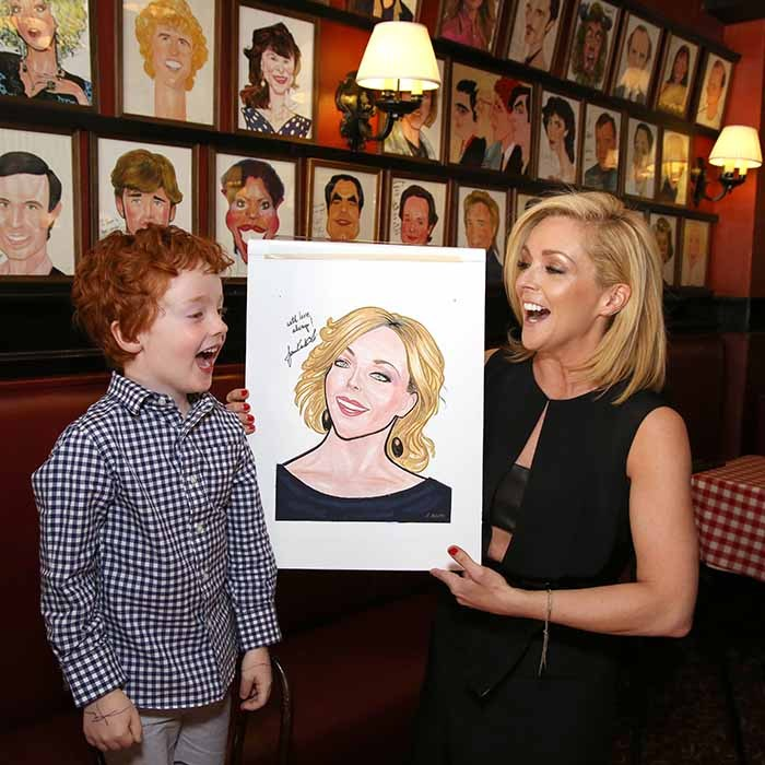 Jane Krakowski brought her son Bennett along to unveil her portrait at Sardi's in New York. The actress received a Tony nomination earlier this year for her role in <i>She Loves Me</i>.