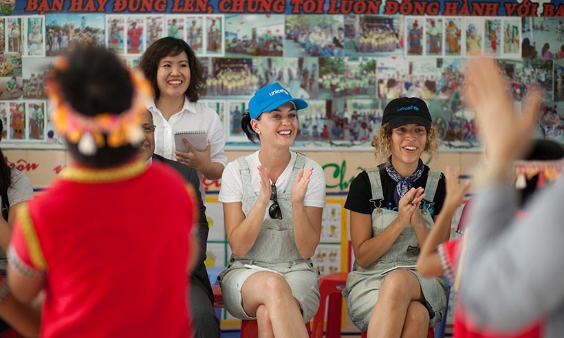 Shortly after her boyfriend Orlando Bloom travelled abroad with UNICEF, Katy Perry jetted off to Vietnam in her role as a Goodwill Ambassador. The singer visited the Quang Son Daycare Center, where she was treated to a performance by students. 