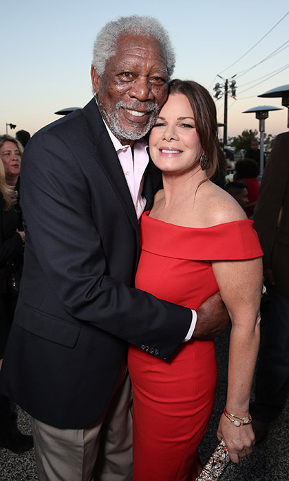 Morgan Freeman and Marcia Gay Harden hugged it out at CBS Television Studios' Summer Soiree in West Hollywood.