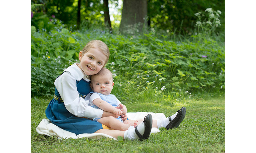 June 2016: The palace released three new portraits of Estelle in honour of Sweden's National Day on June 6. The little princess looks adorable as she poses with her baby brother Prince Oscar, mom Princess Victoria and some sheep.  