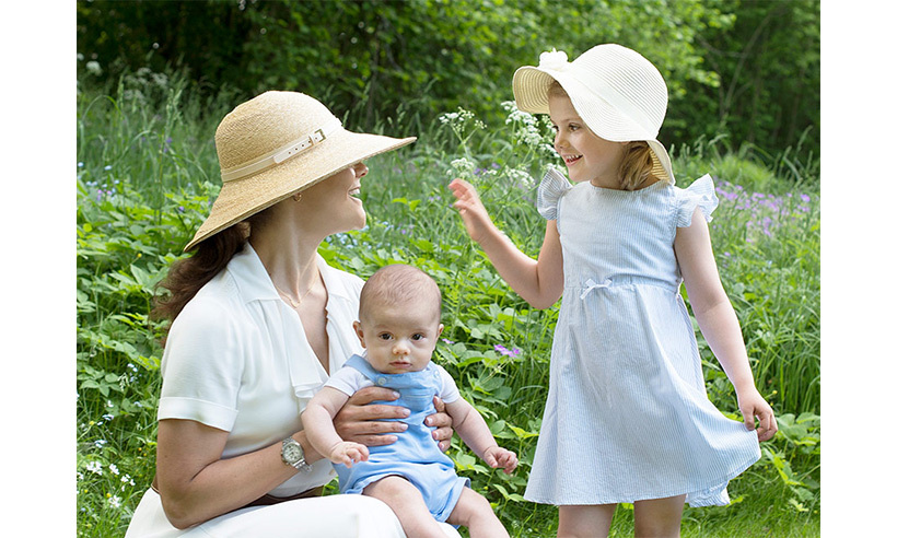 June 2016: Estelle with her doting mom Crown Princess Victoria and little brother Prince Oscar. 