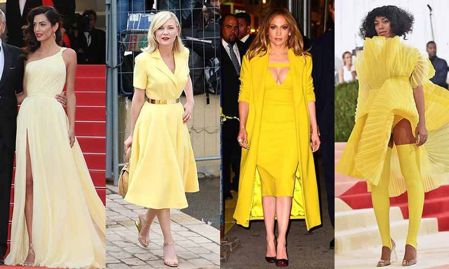 Whether it's sandy pale, bright canary or rich mustard, shades of yellow are bringing the sunshine to red carpets around the world. We've looked to the stars to give us some inspiration for wearing this sunny hue...