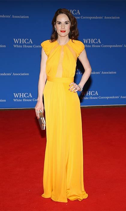 Downton Abbey's Michelle Dockery wore a simple cap-sleeved style to the White House Correspondents' Dinner.