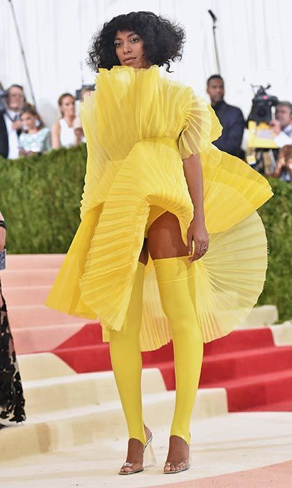 Solange Knowles looks like a sun ray herself in this edgy pleated creation.