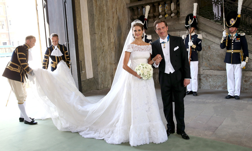 During the ceremony, Chris was overcome with emotion and struggled to hold back the tears as he waited at the altar, watching his beautiful bride glide towards him accompanied by her proud father King Carl Gustaf. 
