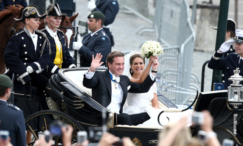 The couple travelled by carriage through the streets of Sweden, thanking well wishers who waited patiently for a glimpse of the bride and groom. 