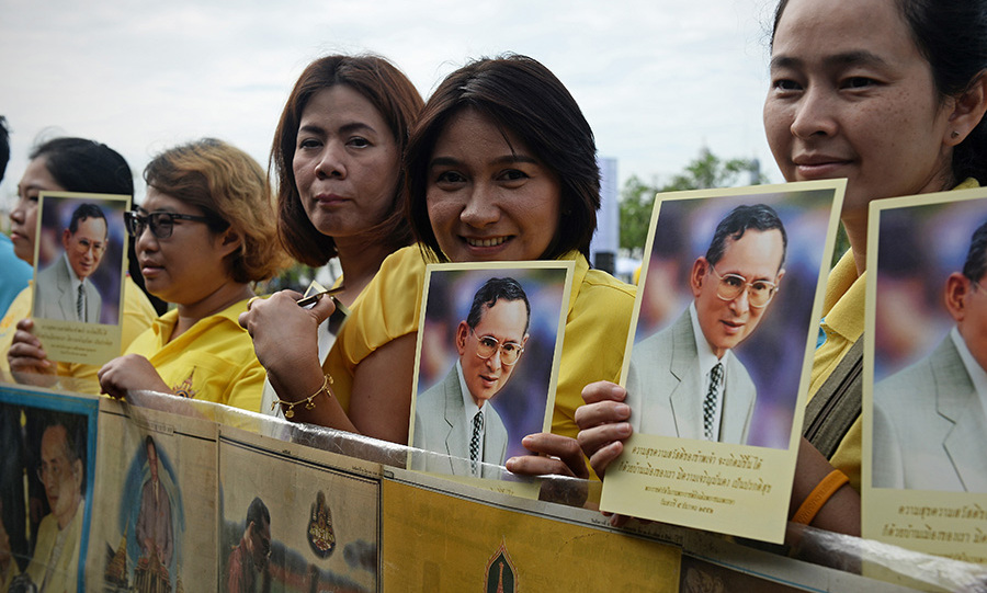 They wore yellow in a nod to King Bhumibol, who was born on a Monday which means that his birth colour is yellow.