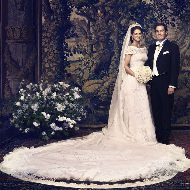 Princess Madeleine was all smiles on her wedding day (June 8, 2013) with husband Chris O'Neill, clad in a breathtaking Valentino gown with sweeping train.