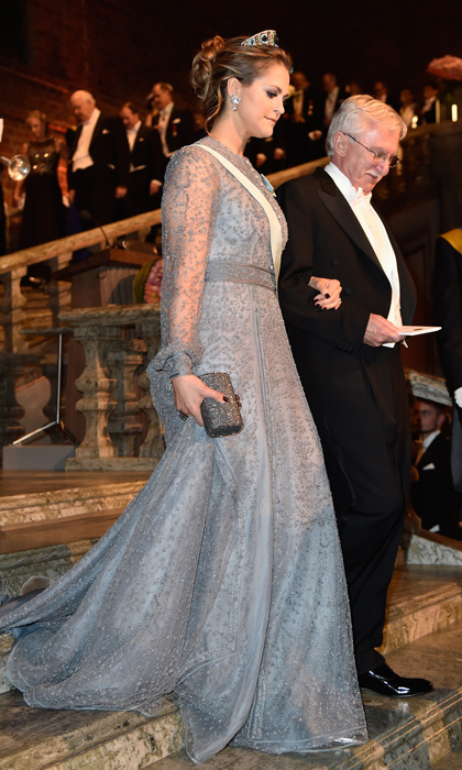 Glamorous Madeleine topped her icy blue gown with a stunning tiara at the Nobel Prize Banquet in 2015.