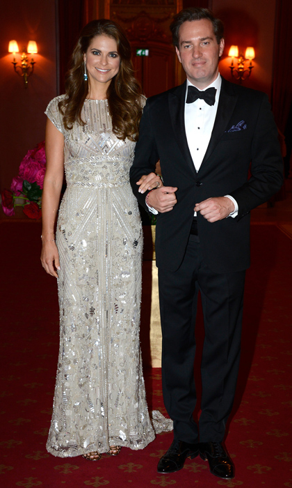 Princess Madeleine dazzled in a futuristic silver-embellished gown for a dinner date night with husband Christopher O'Neill in 2013. 