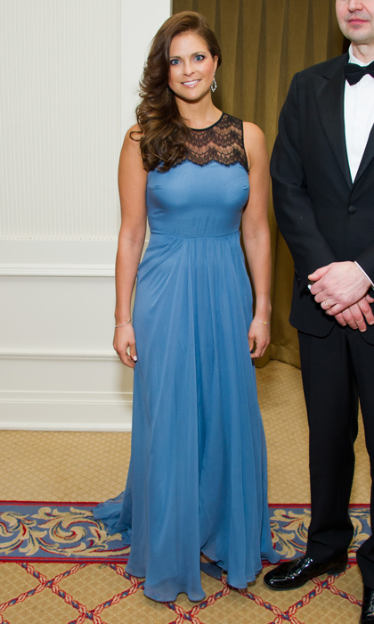 The princess was the picture of elegance in a blue gown with black lace along the collar at the 7th annual Opera News Awards in New York in 2012.  