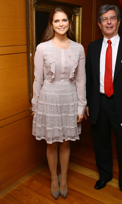 It was a frilly and feminine affair for the stylish royal in an A-line cocktail dress with ruffle detailing and pointy pumps. 