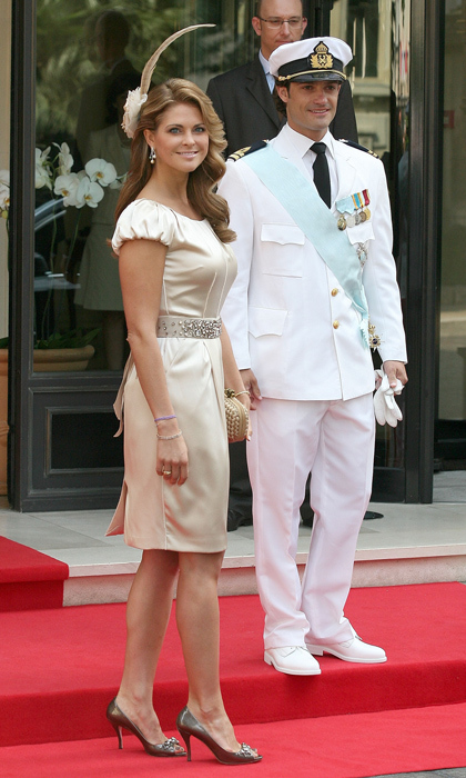 Princess Madeleine proved that neutrals are anything but boring in a champagne cocktail dress, cappuccino-hued heels and a feathery fascinator at the royal wedding of Prince Albert II of Monaco to Charlene Wittstock in 2011. 