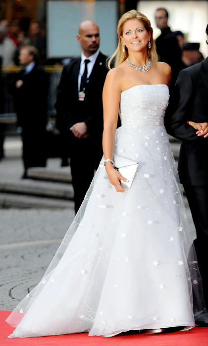 A vision in white, Princess Madeleine channeled the grace of a Disney princess at the Government Gala Performance for the wedding of her sister, Crown Princess Victoria, and Daniel Westling in 2010.  