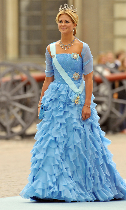 When Crown Princess Victoria wed in 2010, her sister channeled Cinderella in a frothy blue confection paired with a sparkling statement necklace. 