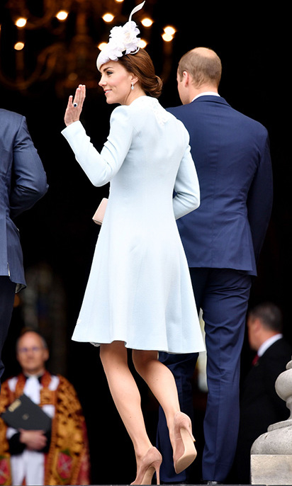 The royal looked stunning in the pale blue number.