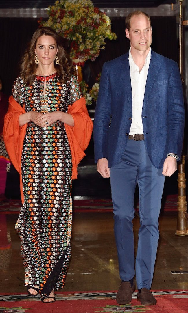 For her final engagement during her royal tour of India and Bhutan in 2016, a private dinner with the King of Bhutan, the Duchess of Cambridge slipped into a spotted maxi dress by American designer Tory Burch. The gown featured a classic column shape and was embroidered with jewel-toned beading. She topped off the fun dress, which was also sported by Drew Barrymore, with a burnt-orange shawl.