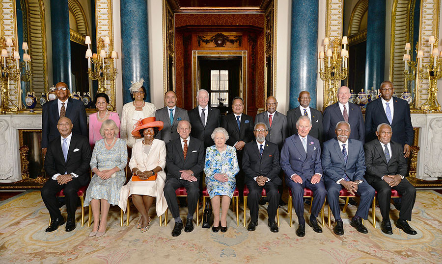 The Queen posed for a group photo with her guests at Buckingham Palace after the ceremony.