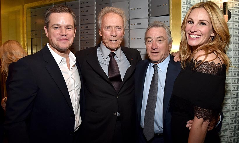 Talk about a powerful squad! Matt Damon, Clint Eastwood, Robert De Niro and Julia Roberts hung out backstage at Spike TV's 10th Annual Guy's Choice Awards in California. 
