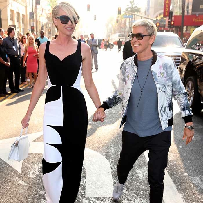 Portia De Rossi and Ellen DeGeneres had no trouble finding their smiles at the world premiere of <i>Finding Dory</i> at the El Capitan Theatre in Hollywood. 
