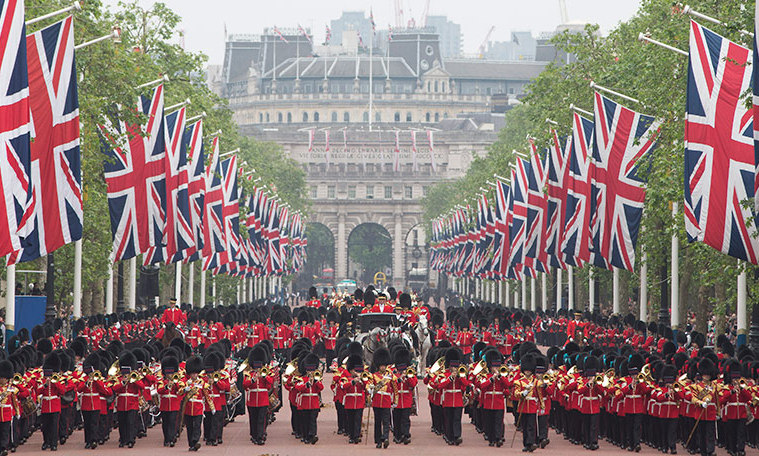 Trooping the Colour takes place every year on a Saturday in June.