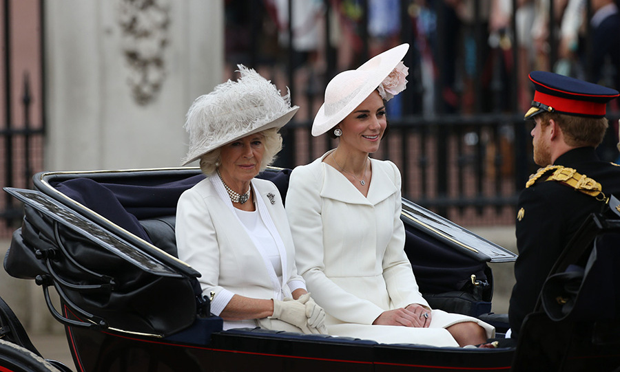 Camilla, Kate and Prince Harry were the first royals to leave the palace.