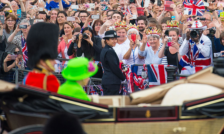 Thousands of well-wishers lined the Mall to wave to the Queen and Prince Philip.