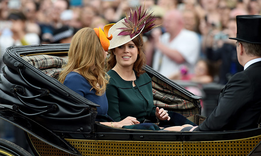 Princesses Beatrice and Eugenie rode to the ceremony with their father, Prince Andrew. 