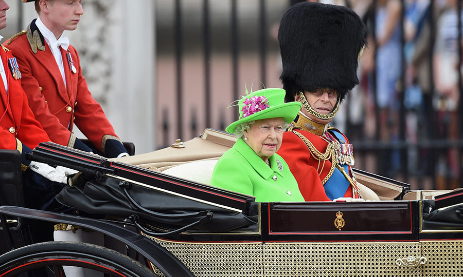 The Queen wore a bright green outfit for the Trooping the Colour. 