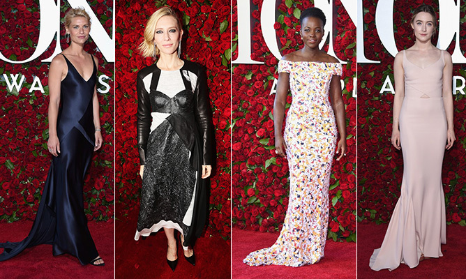 Broadway's most dazzling night brought the biggest triple threats to the Beacon Theatre for a song-filled awards show hosted by <em>The Late Late Show</em>'s James Corden - but not before taking a spin down the stunning, floral-embellished red carpet. The night's most poignant accessory was the silver ribbons paying tribute to the victims of the Orlando shootings, and stars like Lupita Nyong'o, Jane Krakowski, Cate Blanchett, Claire Danes and Saoirse Ronan turned up the glamour in show-stopping ensembles. Click through our gallery to see them all...