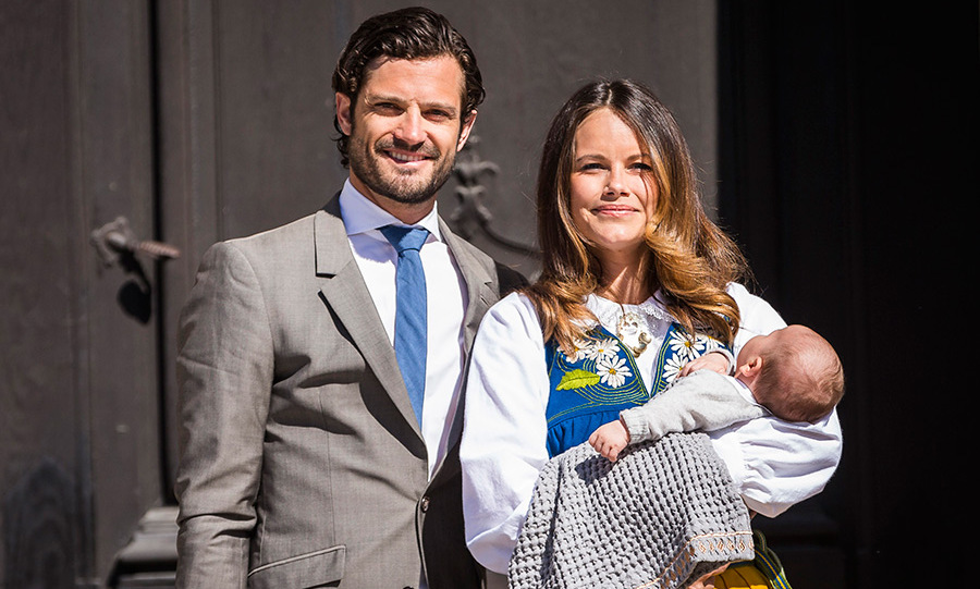 The couple proudly introduced their son at Sweden's national day celebrations.