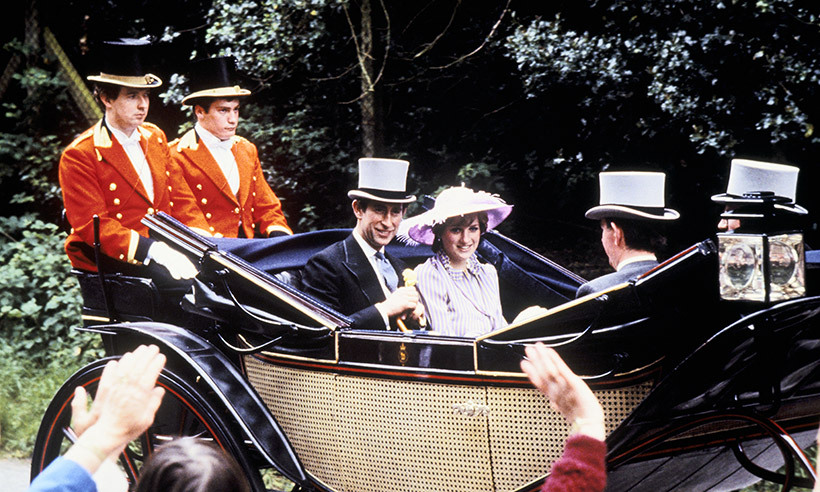 A month before their historic 1981 wedding at St. Paul's Cathedral in London, Prince Charles and Lady Diana arrived in style in a carriage at Royal Ascot.