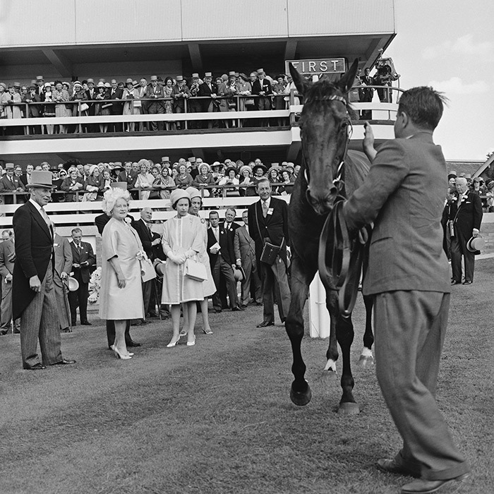 The 1968 running of the Hardwicke Stakes at Ascot was a happy one for Her Majesty (seen here with the Queen Mother). Her horse Hopeful Venture captured first place. 